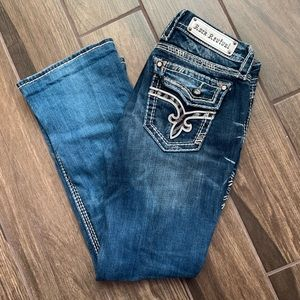 Rock Revival Kai Boot Cut Dark Wash Jeans Bling 28